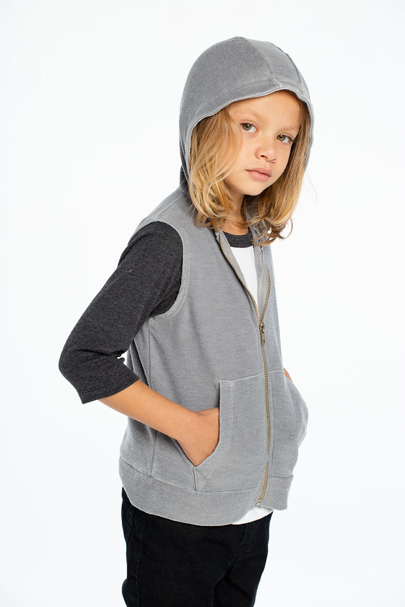 Cozy Knit Sleeveless Zip Up Hoodie, BOYS, chaserbrand.com,chaser clothing,chaser apparel,chaser los angeles