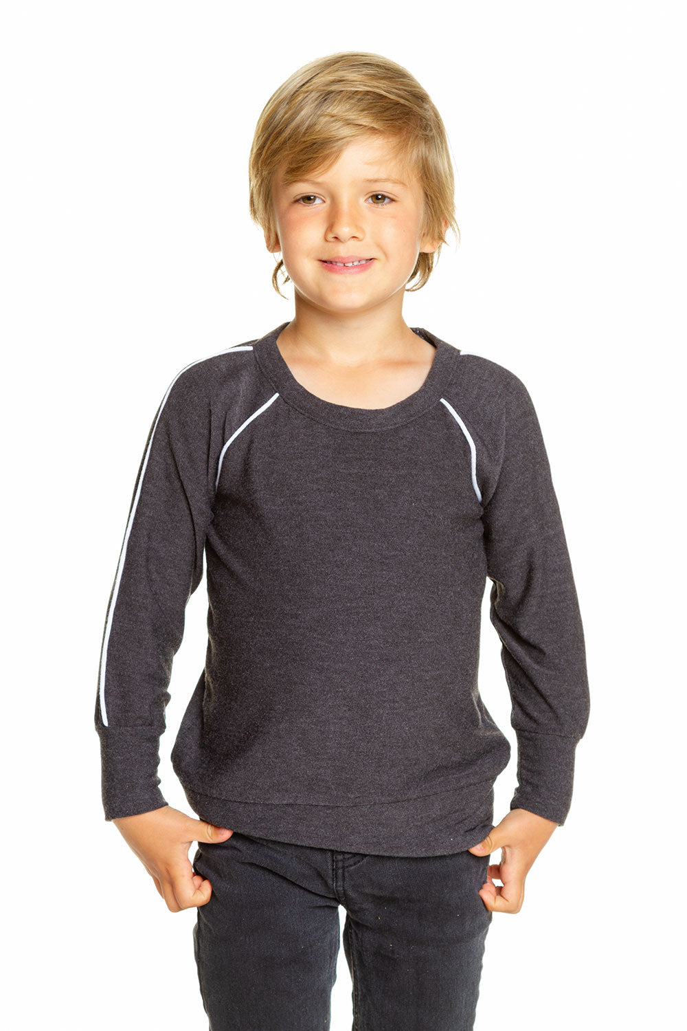 Boys Cozy Knit Long Sleeve Contrast Piping Raglan Pullover