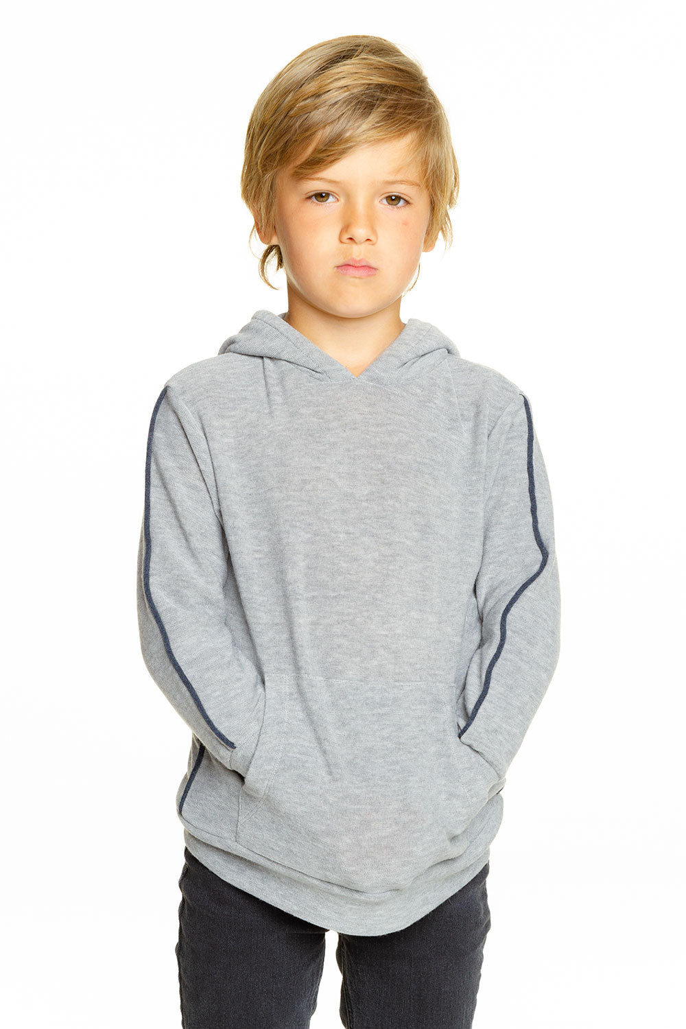 Boys Cozy Knit Contrast Piping Kanga Pocket Pullover Hoodie BOYS chaserbrand4.myshopify.com
