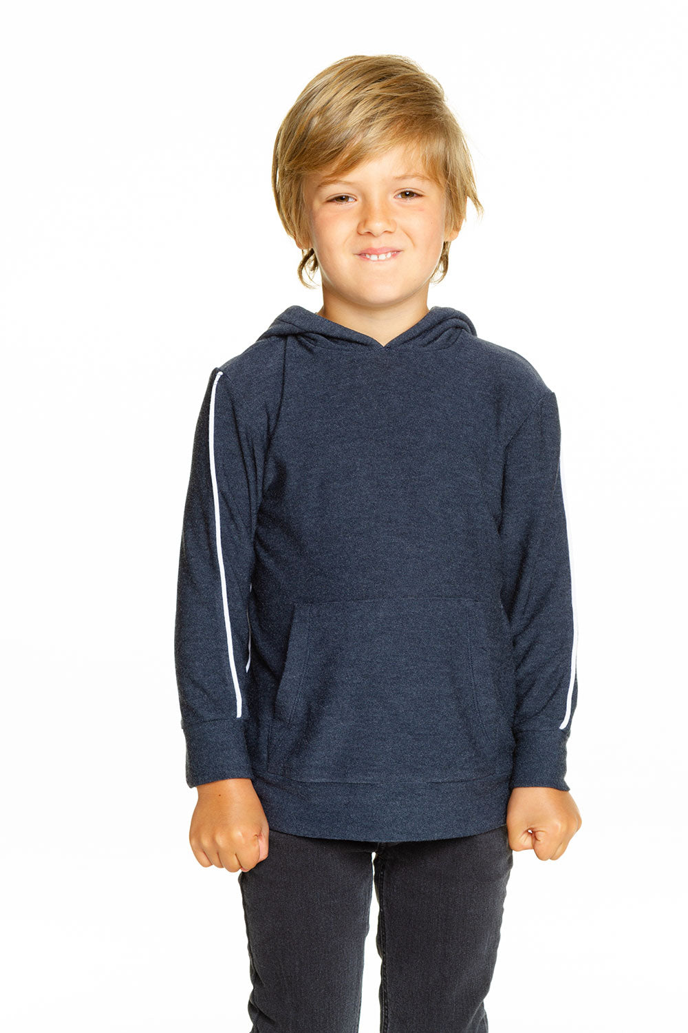 Boys Cozy Knit Contrast Piping Kanga Pocket Pullover Hoodie