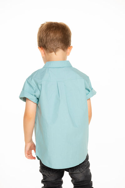 Boys Cotton Poplin Short Sleeve Button Down Shirt in Aloe Green BOYS chaserbrand4.myshopify.com