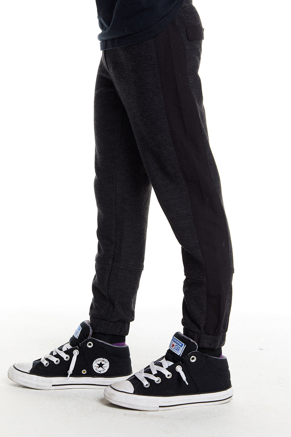 Boys Cozy Knit Poplin Blocked Track Pant in Black