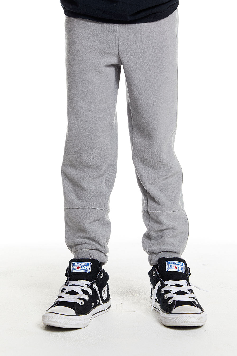 Boys Cozy Knit Poplin Blocked Track Pant in Platinum Grey