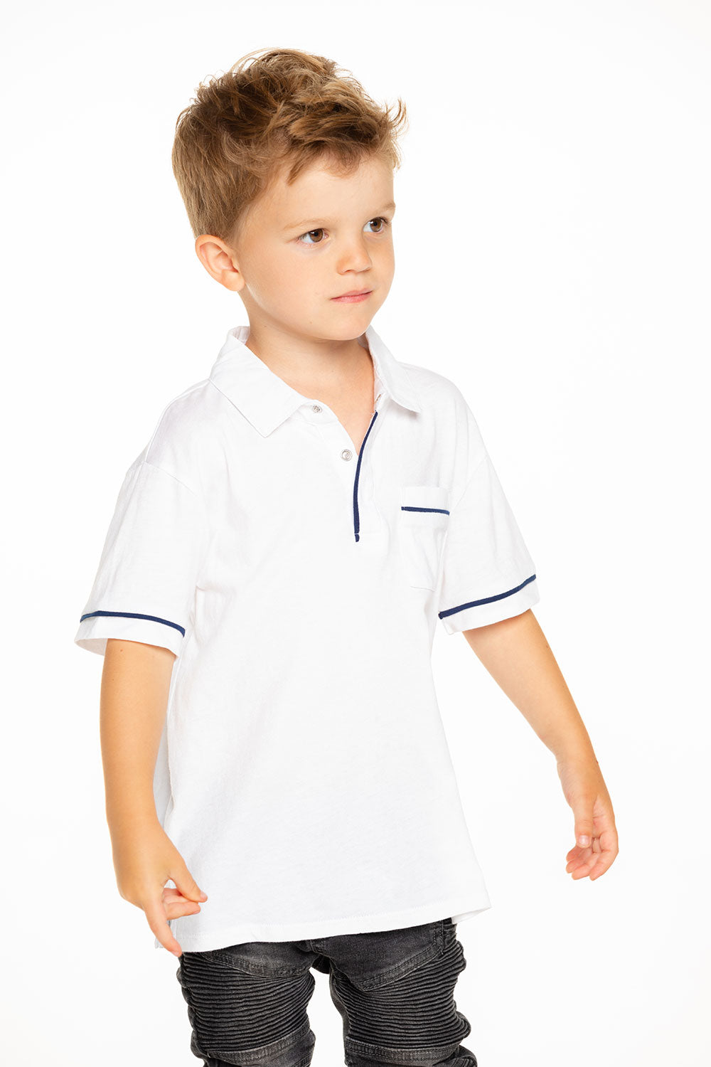 Boys Cotton Jersey Short Sleeve Pocket Polo with Piping in White BOYS chaserbrand4.myshopify.com