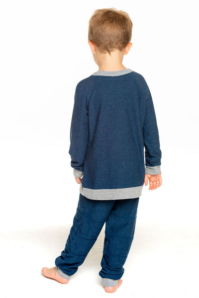 Boys Cozy Knit Long Sleeve Contrast Raglan Pullover with Pocket in Avalon BOYS chaserbrand4.myshopify.com
