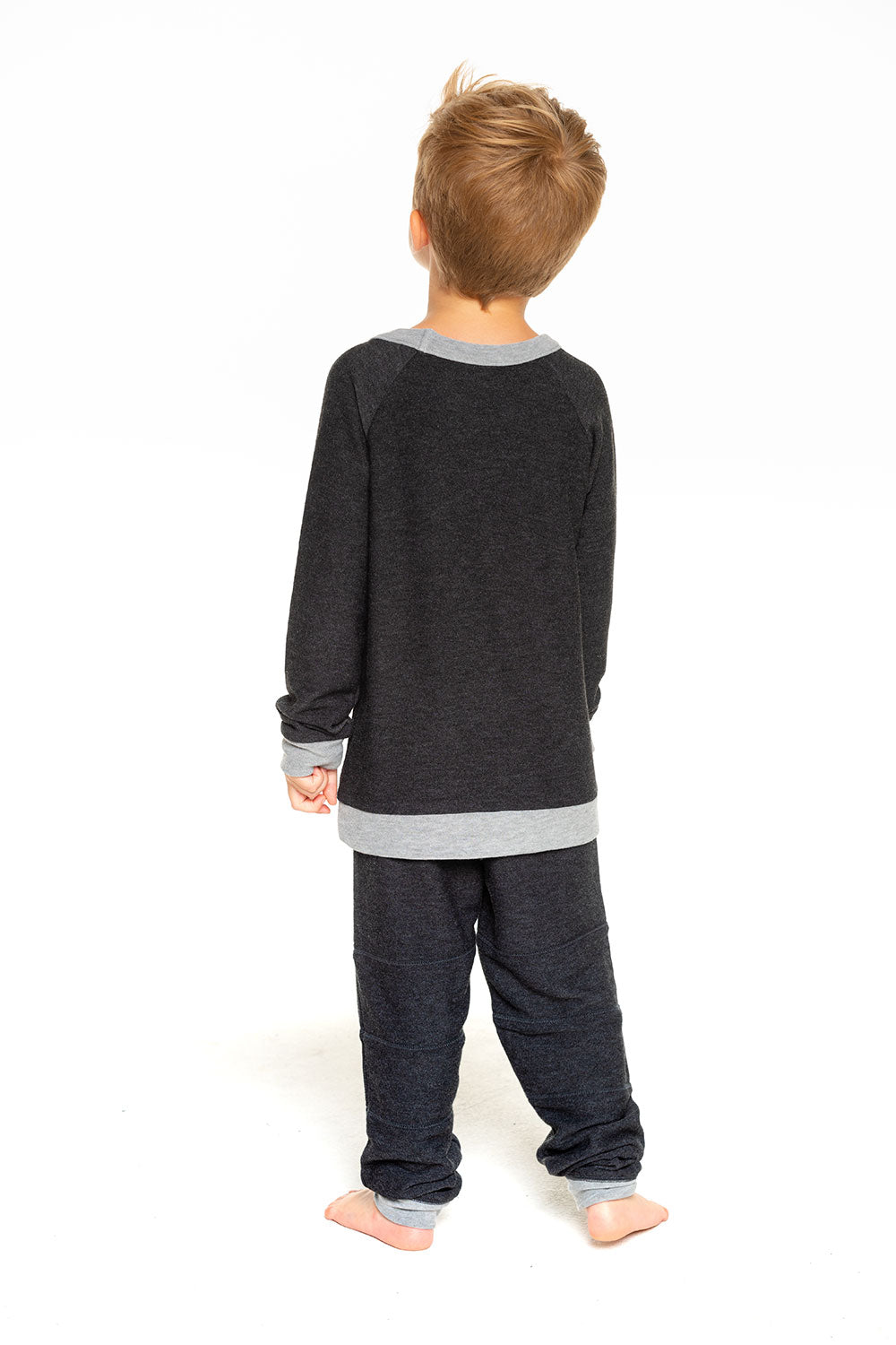 Boys Cozy Knit Long Sleeve Contrast Raglan Pullover with Pocket in Black BOYS chaserbrand4.myshopify.com