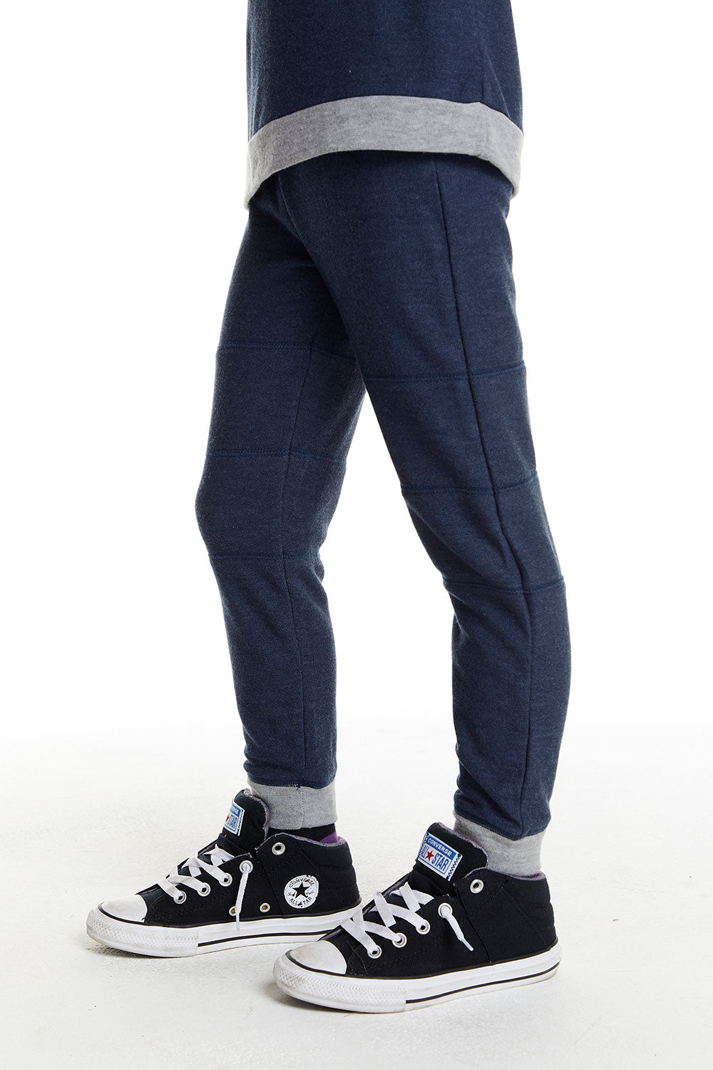 Boys Cozy Knit Contrast Panel Jogger in Avalon Blue