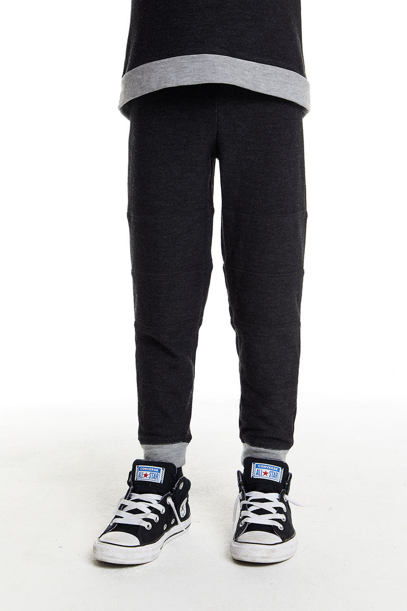 Boys Cozy Knit Contrast Panel Jogger in Black