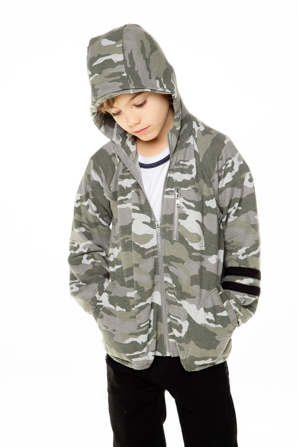 Boys Love Knit Long Sleeve Zip Up Hoodie with Strappings BOYS chaserbrand4.myshopify.com