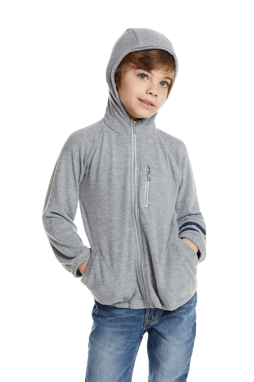 Boys Love Knit Long Sleeve Zip Up Hoodie with Strappings BOYS - chaserbrand
