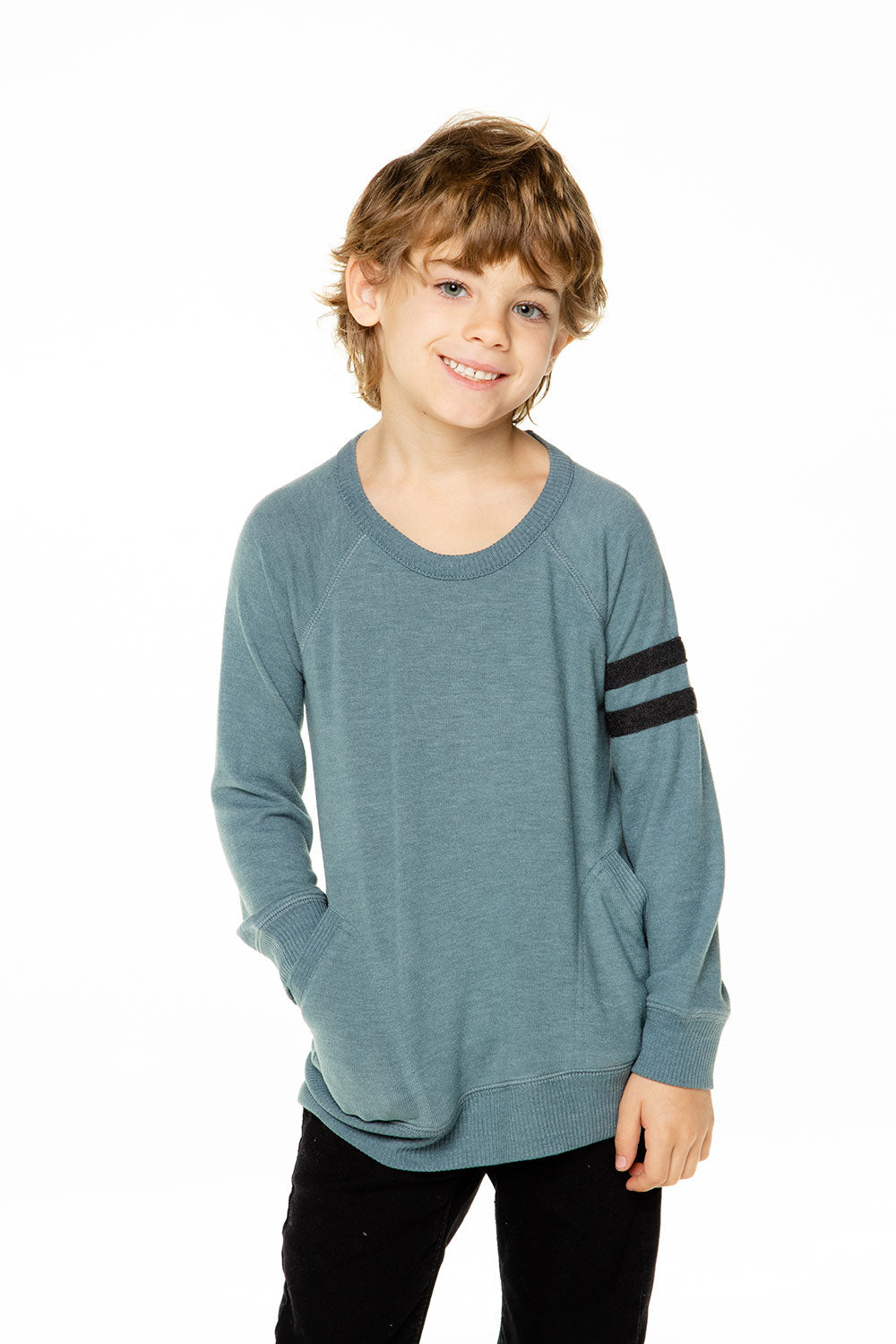 Boys Love Knit Long Sleeve Pocket Pullover with Strappings BOYS - chaserbrand