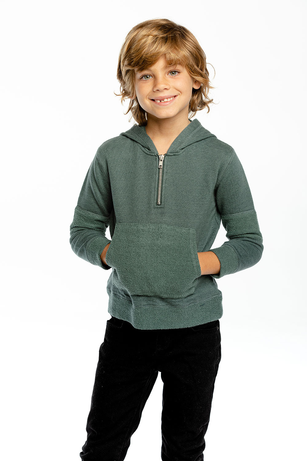 Boys Linen French Terry Long Sleeve Paneled Half Zip Pullover BOYS - chaserbrand