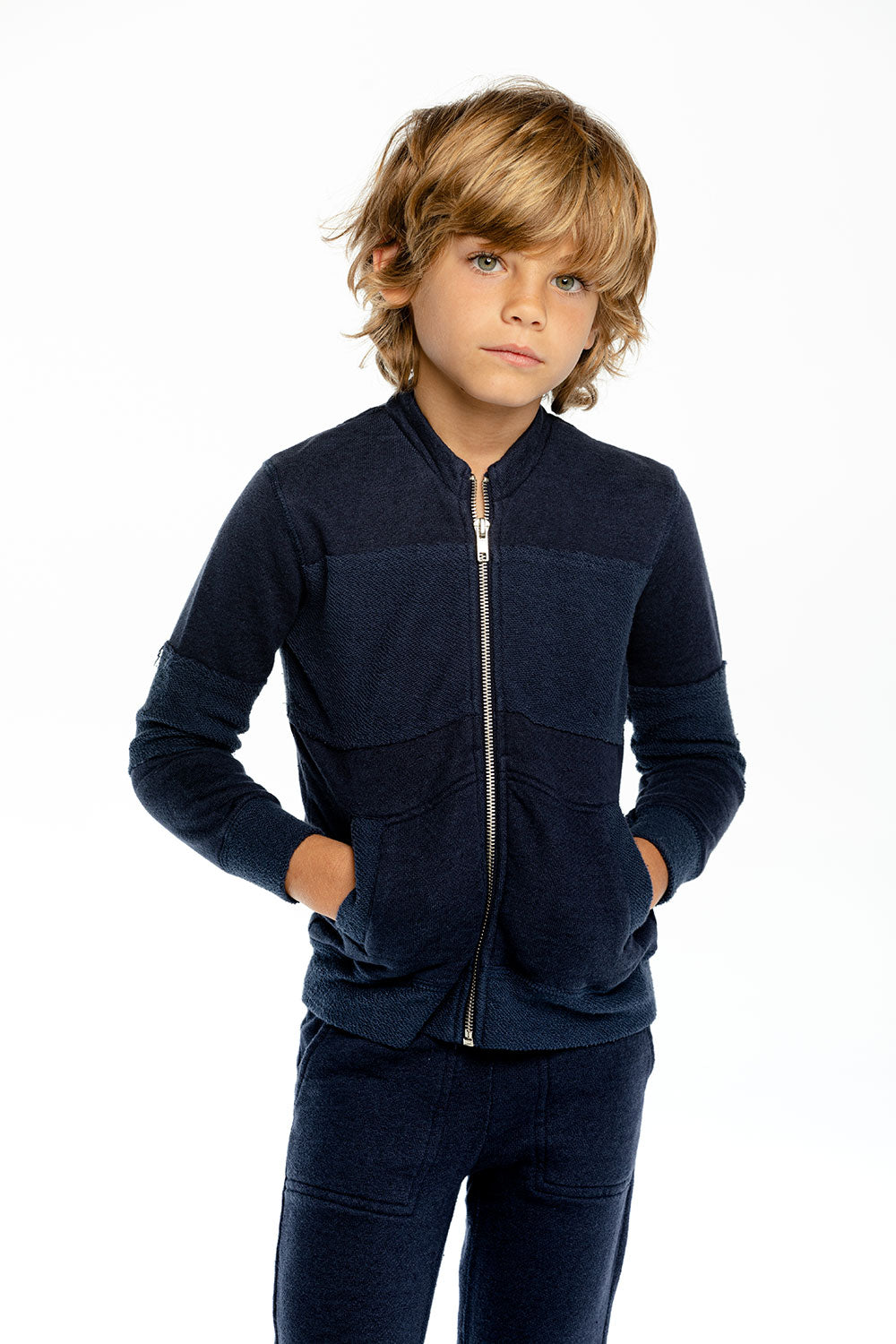 Boys Linen French Terry Raw Edge Paneled Track Jacket BOYS - chaserbrand