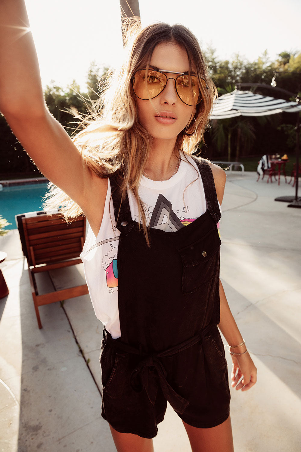 Heirloom Wovens Flouncy Shortalls W Tie, WOMENS, chaserbrand.com,chaser clothing,chaser apparel,chaser los angeles