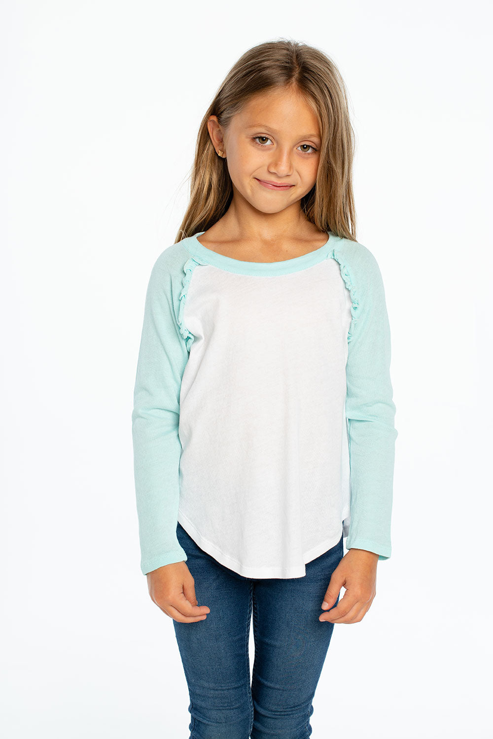 Gauzy Cotton L/S Ruffle Raglan Baseball Tee, GIRLS, chaserbrand.com,chaser clothing,chaser apparel,chaser los angeles