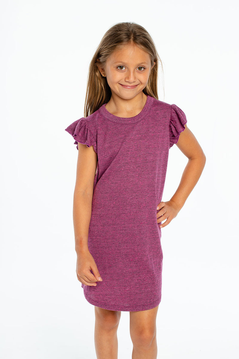 Triblend Flutter Sleeve Shirttail Dress, GIRLS, chaserbrand.com,chaser clothing,chaser apparel,chaser los angeles