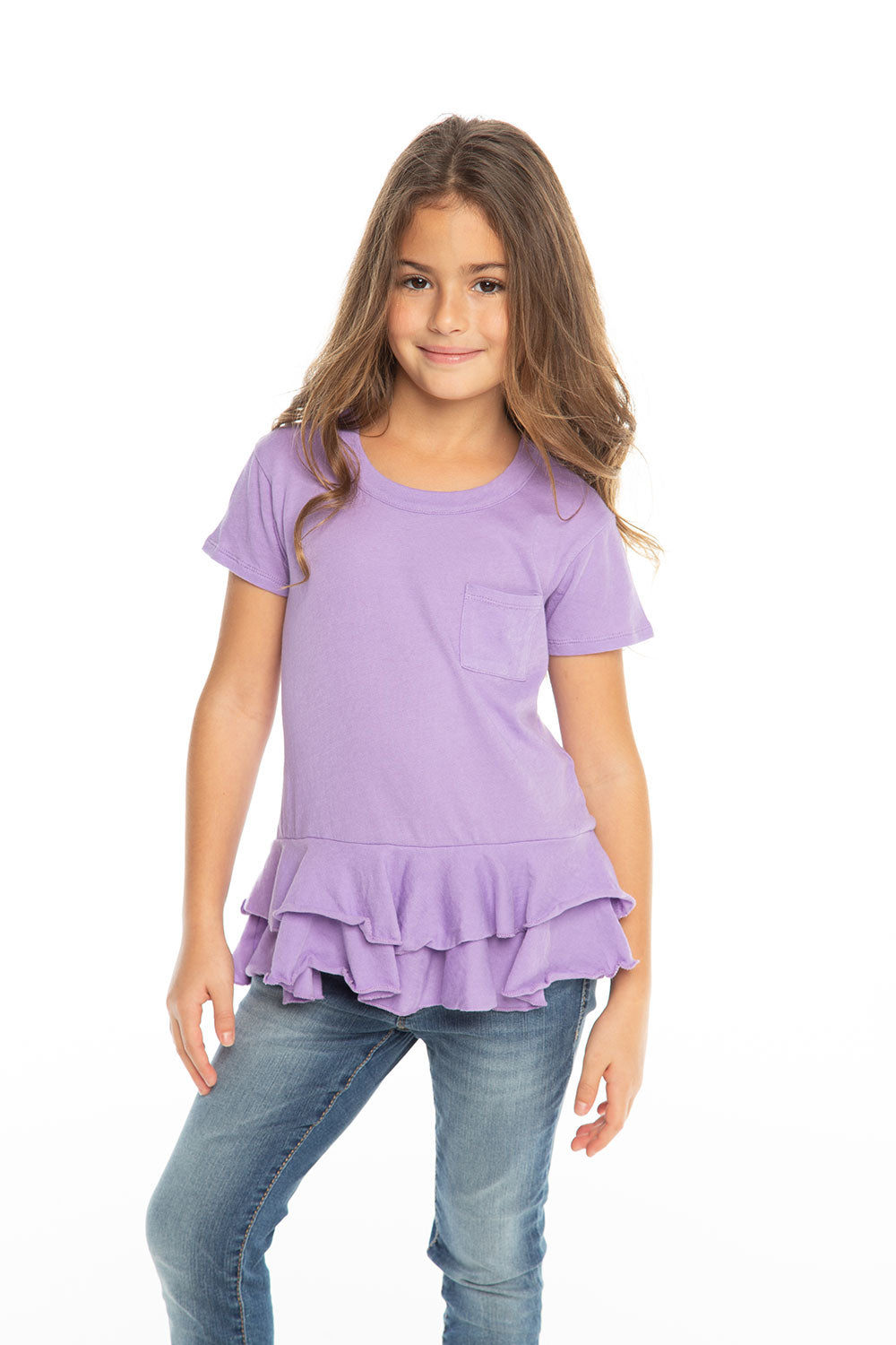 Gauzy Cotton S/S Crew Neck Double Peplum Pocket Tee Girls chaserbrand4.myshopify.com