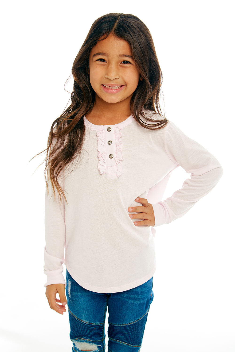 Girls Vintage Jersey Long Sleeve Ruffle Henley Shirttail Tee GIRLS chaserbrand4.myshopify.com