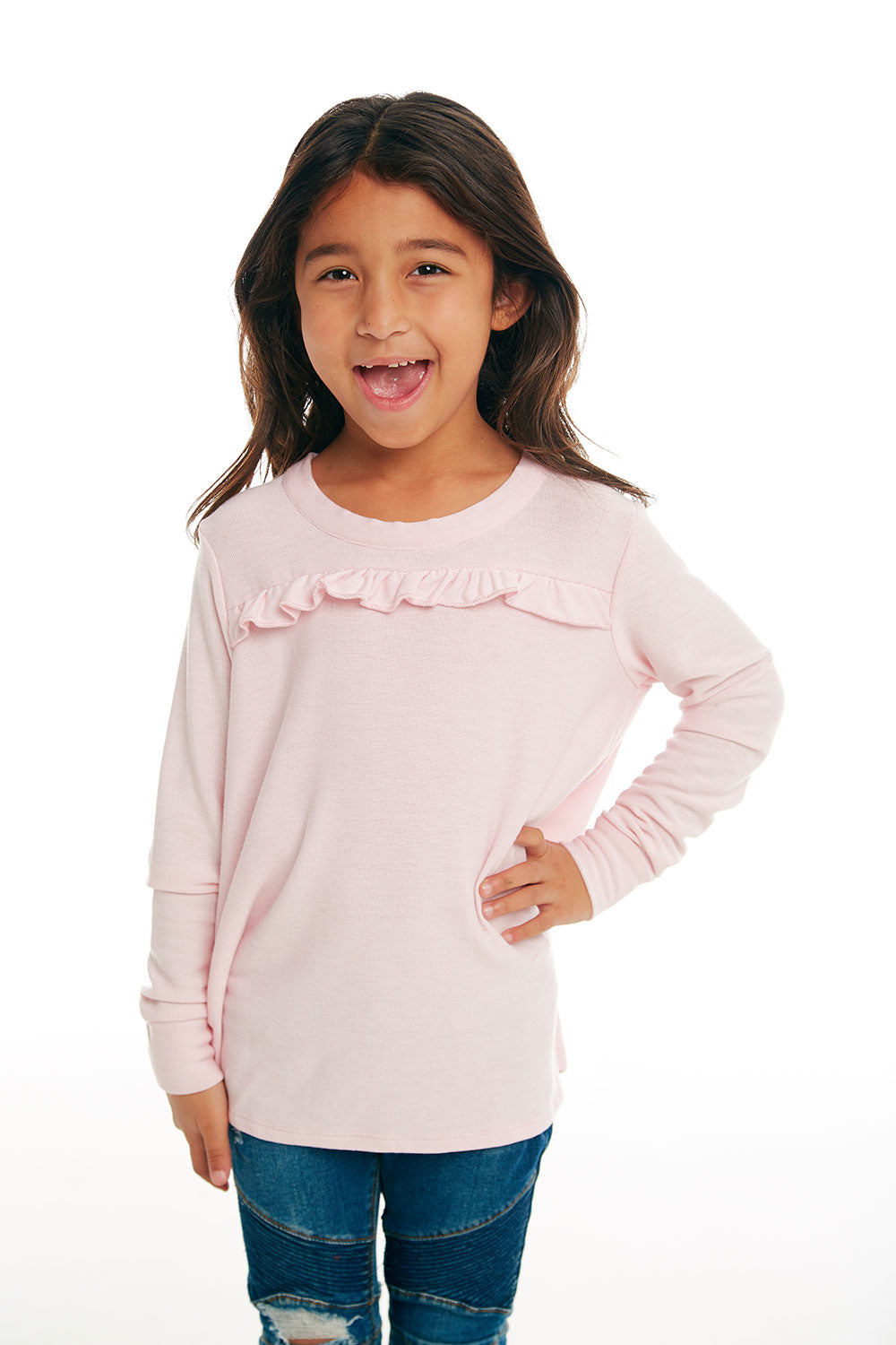 Girls Cozy Knit Long Sleeve Ruffle Yoke Pullover GIRLS chaserbrand4.myshopify.com