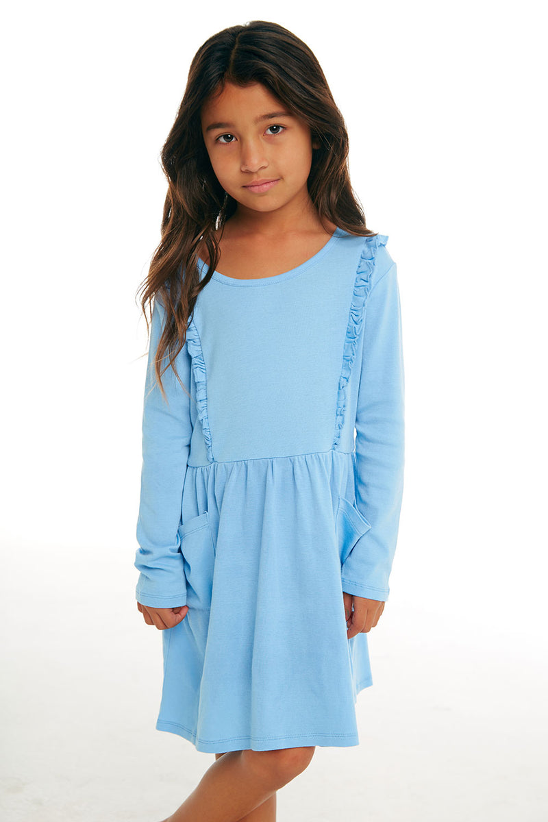 Girls Baby Rib Long Sleeve Ruffle Dress with Pockets, GIRLS, chaserbrand.com,chaser clothing,chaser apparel,chaser los angeles