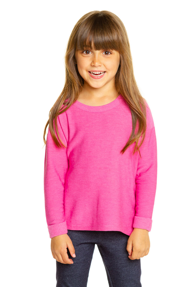 Girls Cozy Knit Rolled Long Sleeve Boxy Hi Lo Pullover GIRLS chaserbrand4.myshopify.com