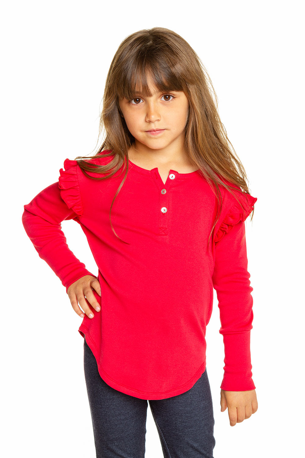 Girls Baby Rib Ruffle Long Sleeve Cuffed Shirttail Henley GIRLS chaserbrand4.myshopify.com
