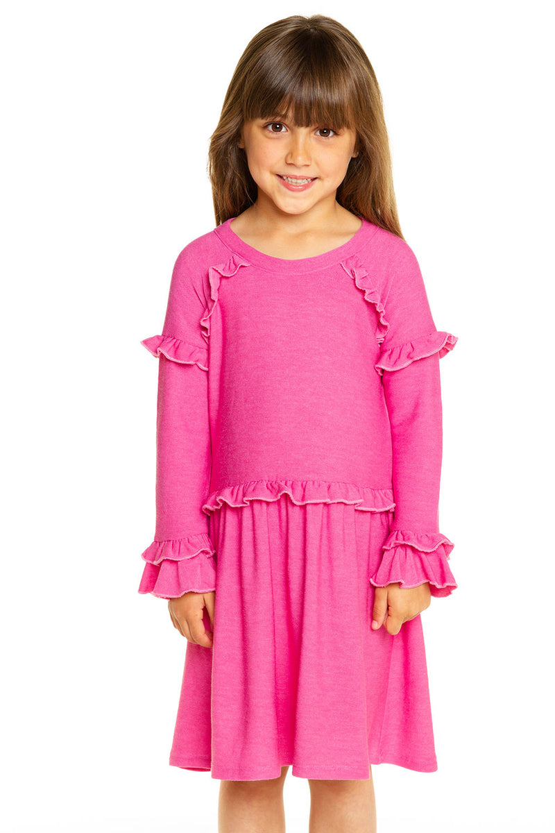 Girls Cozy Knit Ruffle Raglan Dress GIRLS chaserbrand4.myshopify.com
