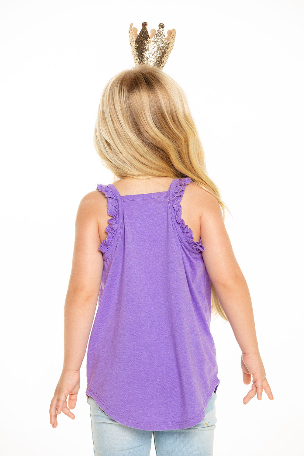 Recycled Vintage Jersey Ruffle Racerback Tank in Electric Purple GIRLS - chaserbrand