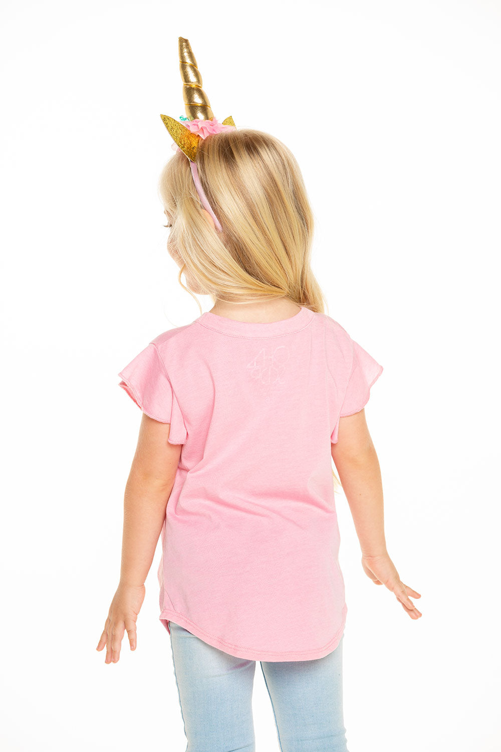 Recycled Vintage Jersey Shirred Flutter Sleeve Tee in Carnation Pink GIRLS - chaserbrand