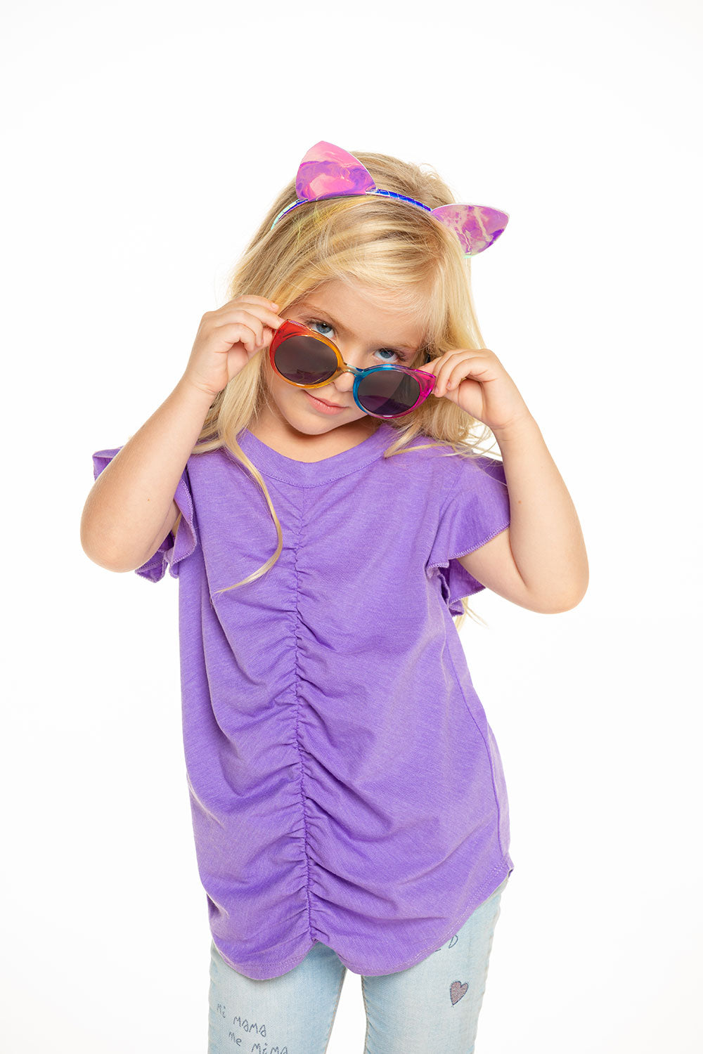 Recycled Vintage Jersey Shirred Flutter Sleeve Tee in Electric Purple GIRLS - chaserbrand