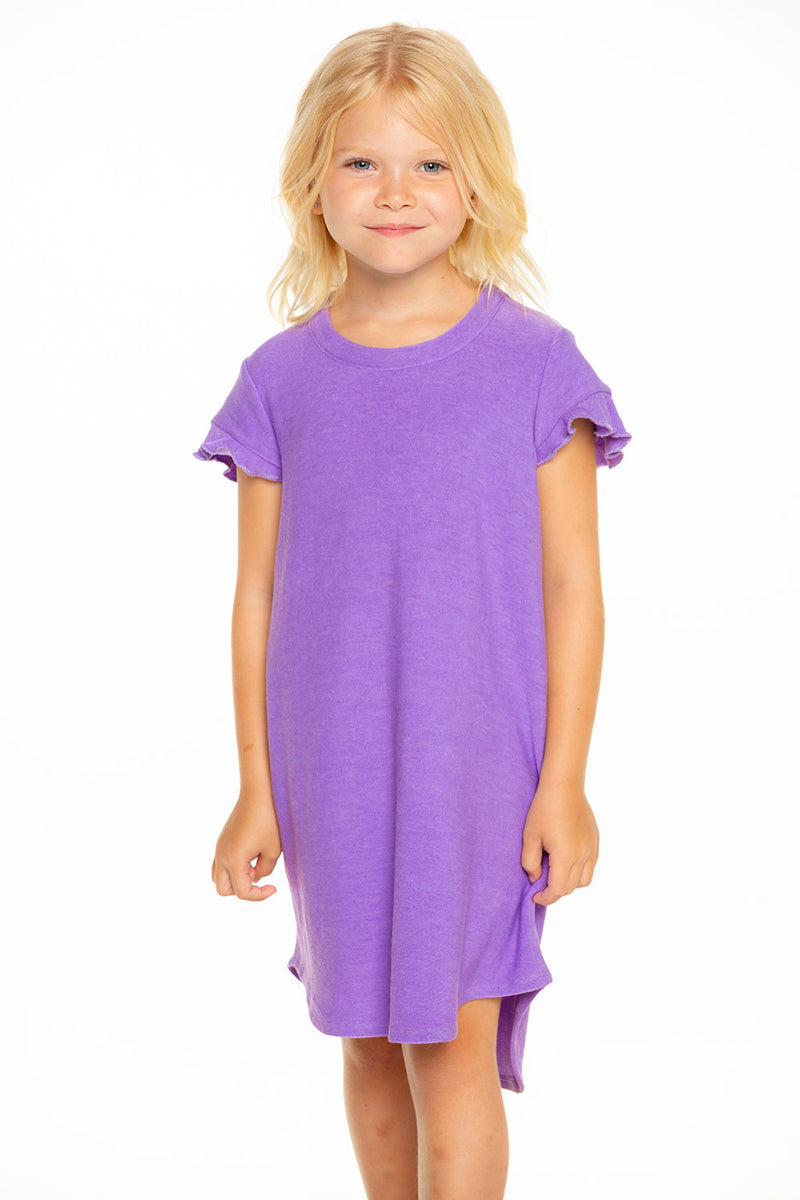 Cozy Knit Ruffle Short Sleeve Shirttail Mini Dress in Electric Purple [product_type] chaserbrand4.myshopify.com