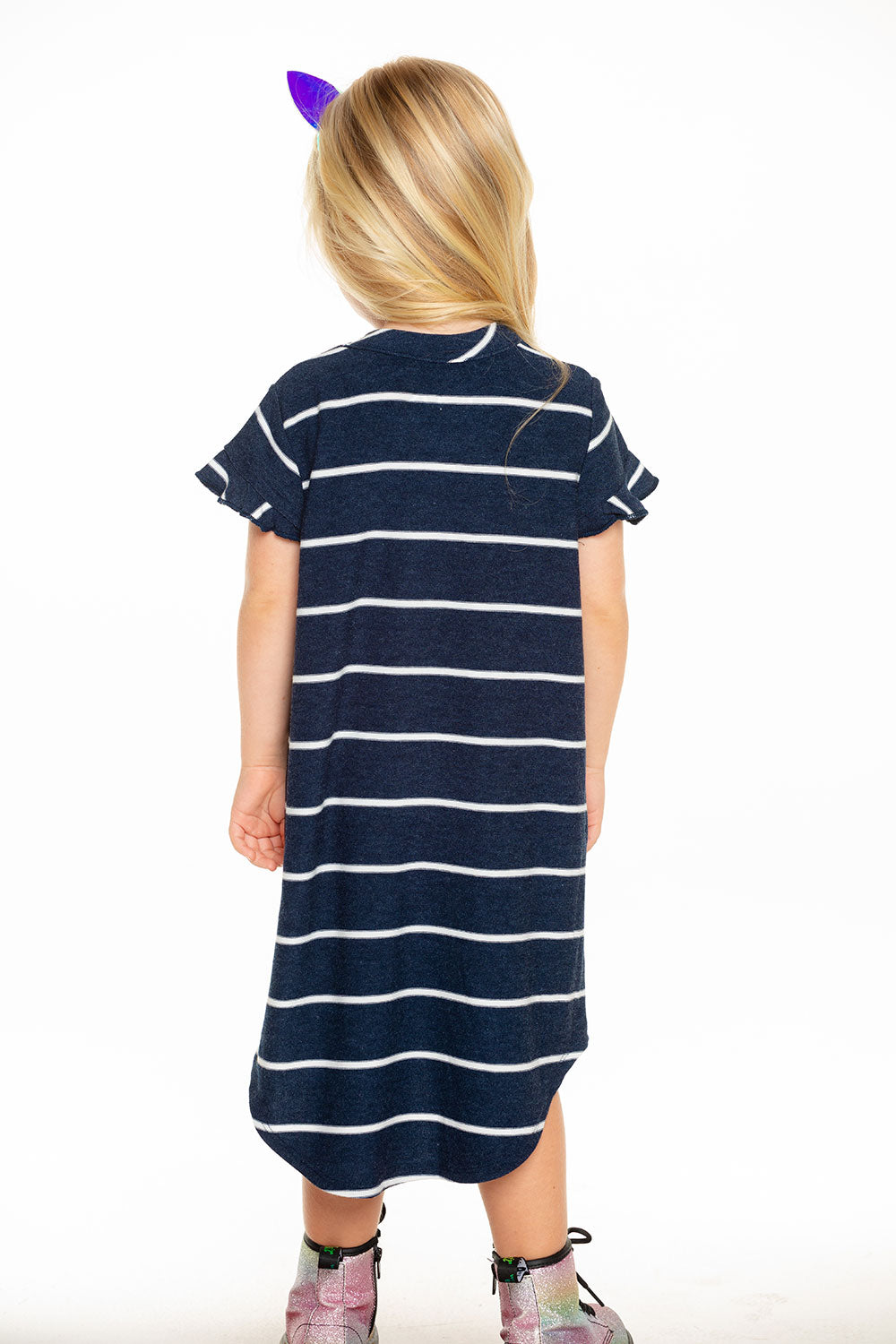 Cozy Knit Ruffle Short Sleeve Shirttail Mini Dress in Stripe [product_type] chaserbrand4.myshopify.com
