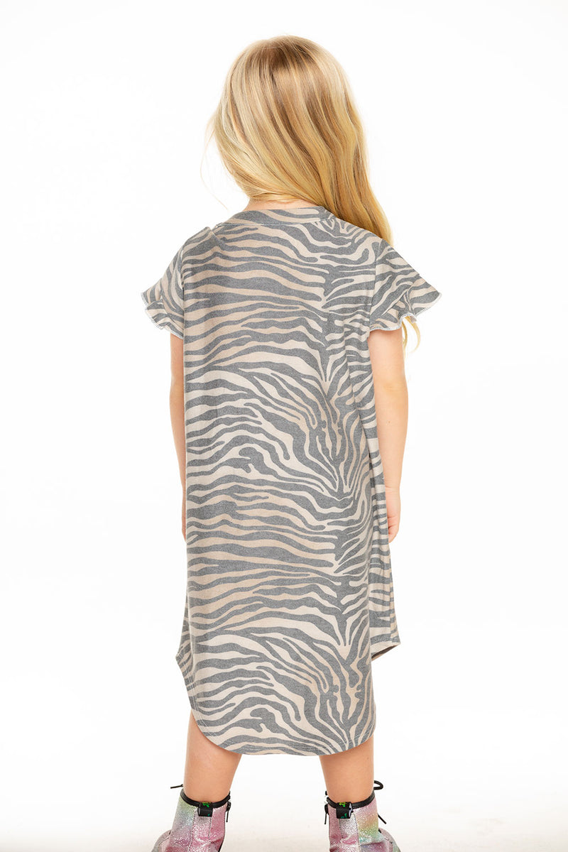 Cozy Knit Ruffle Short Sleeve Shirttail Mini Dress in Zebra Stripe [product_type] chaserbrand4.myshopify.com