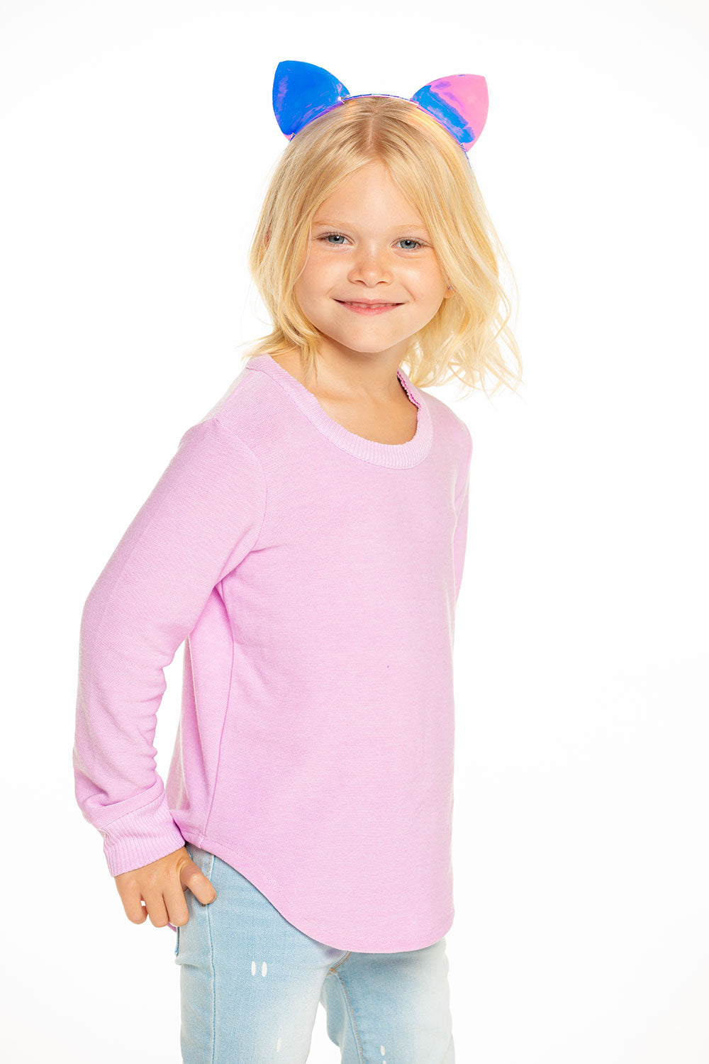 Cozy Knit Long Sleeve Hi Lo Shirttail Pullover in Pillow Pink [product_type] chaserbrand4.myshopify.com