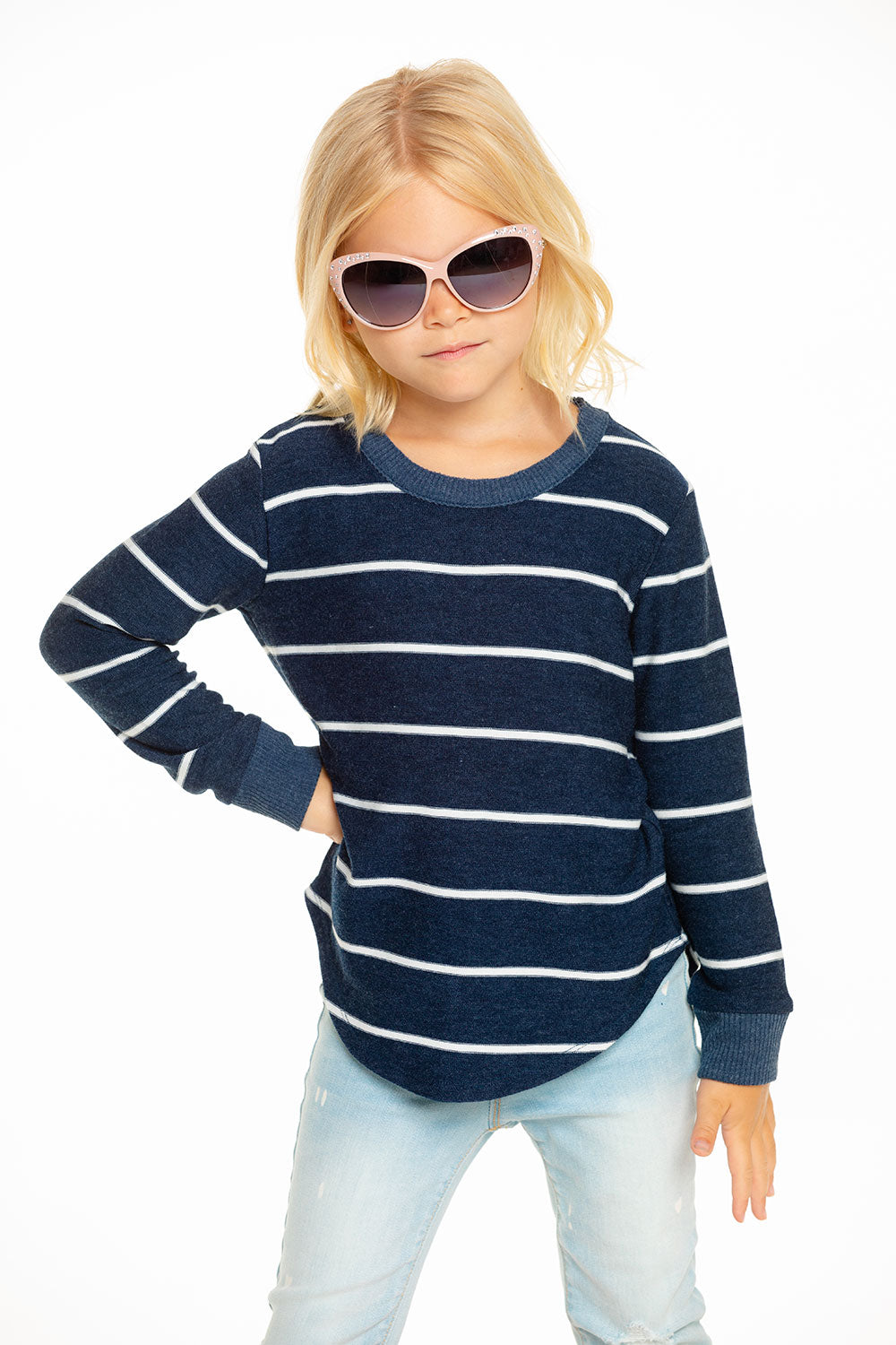 Cozy Knit Long Sleeve Hi Lo Shirttail Pullover in Stripe [product_type] chaserbrand4.myshopify.com