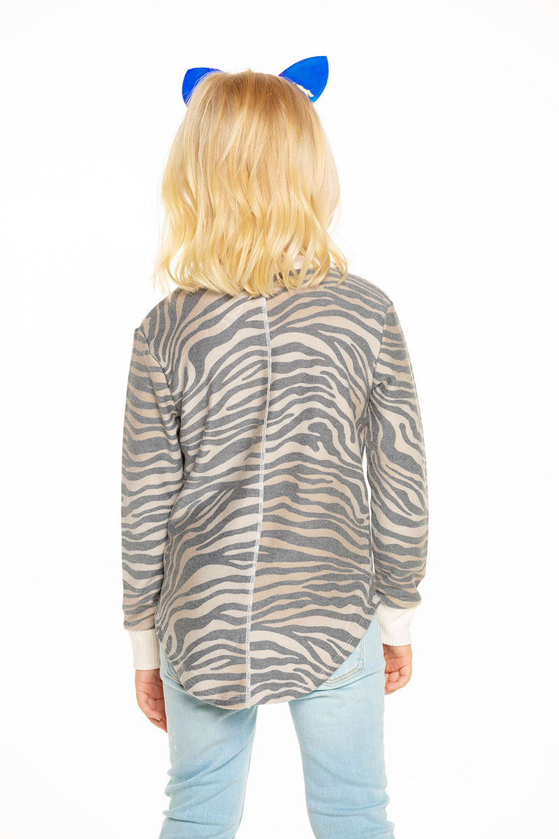 Cozy Knit Long Sleeve Hi Lo Shirttail Pullover in Zebra Stripe [product_type] chaserbrand4.myshopify.com