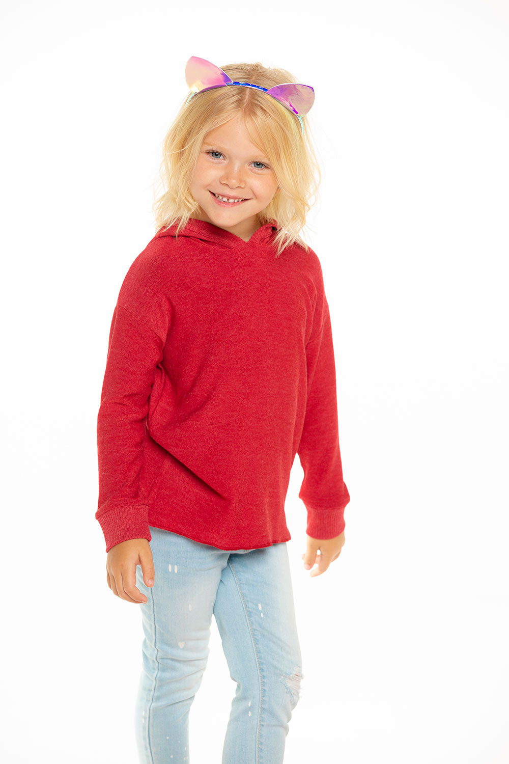 Cozy Knit Hi Lo Pullover Hoodie in Cardinal Red GIRLS chaserbrand4.myshopify.com