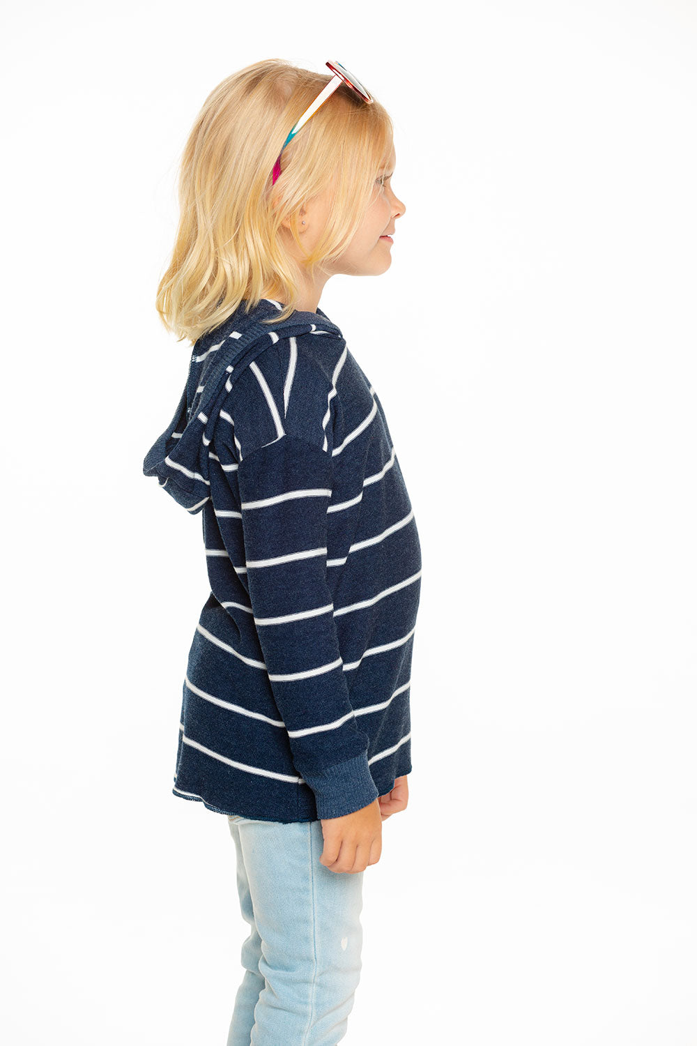 Cozy Knit Hi Lo Pullover Hoodie in Stripe GIRLS chaserbrand4.myshopify.com