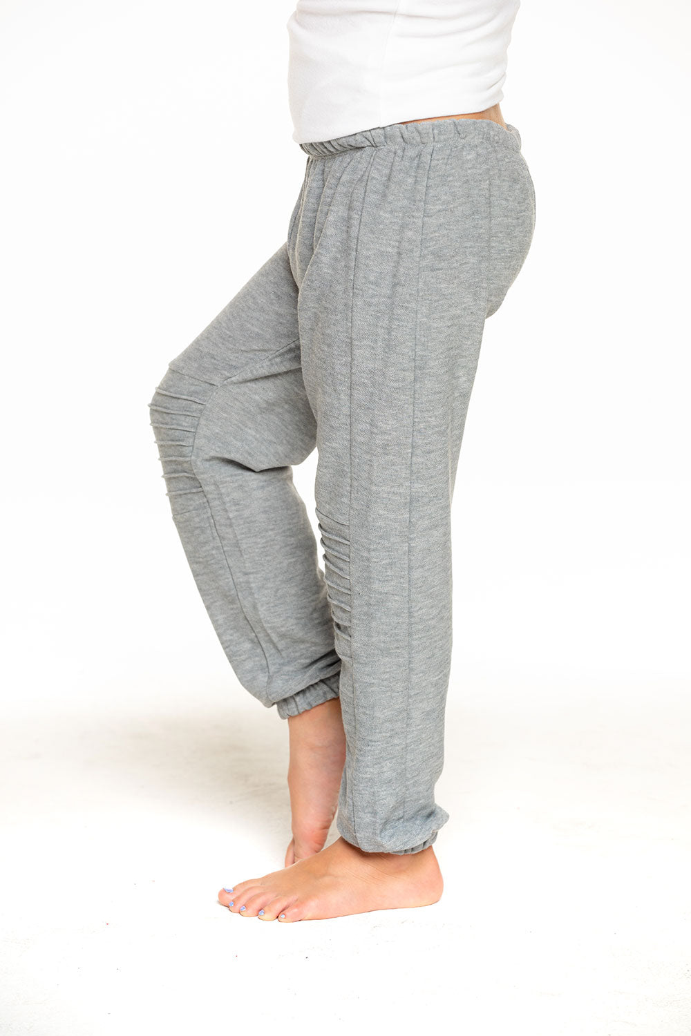 Cozy Knit Slouchy Moto Jogger in Heather Grey