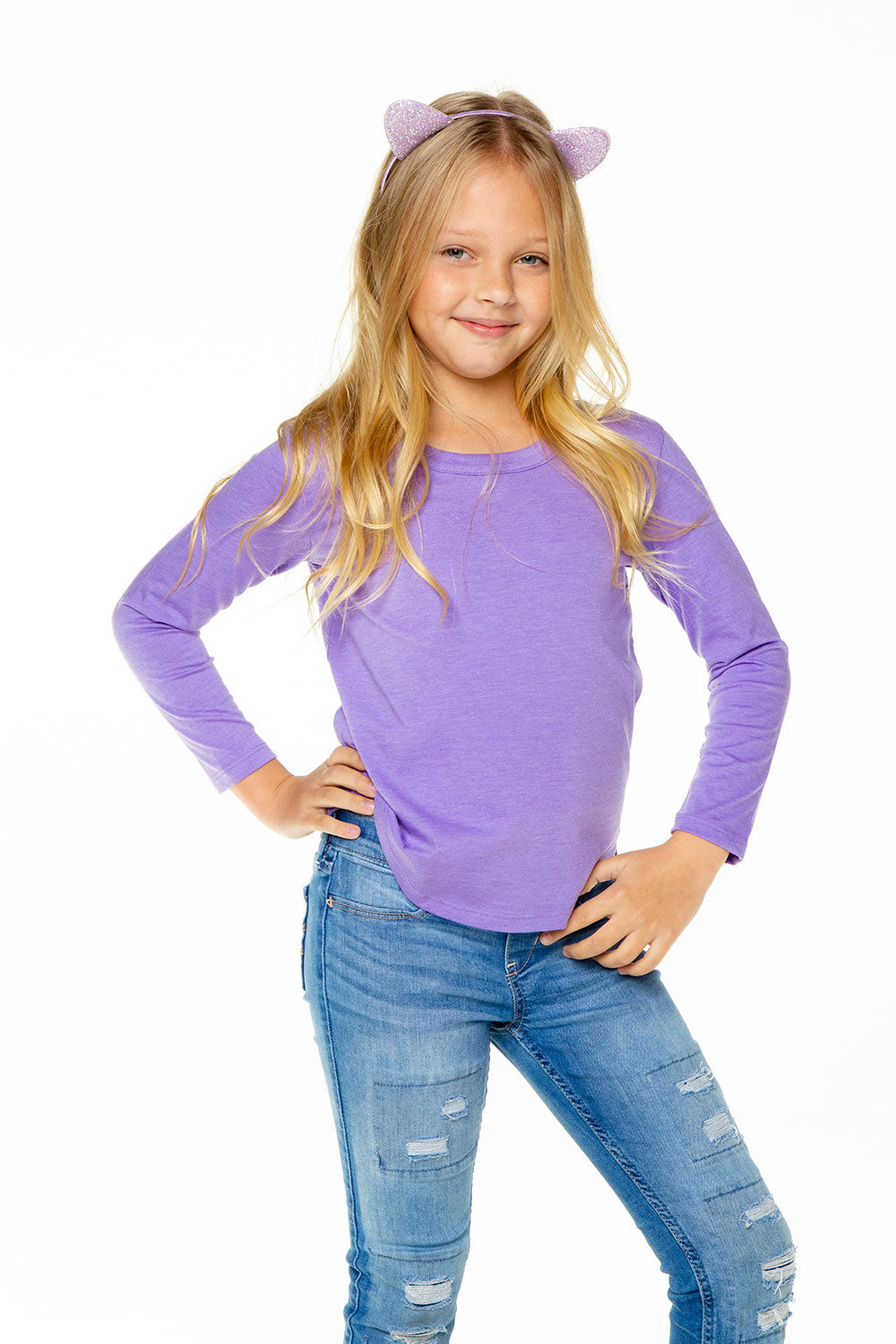 Girls Recycled Vintage Jersey Long Sleeve Scoop Back Shirttail RECYCLED chaserbrand4.myshopify.com