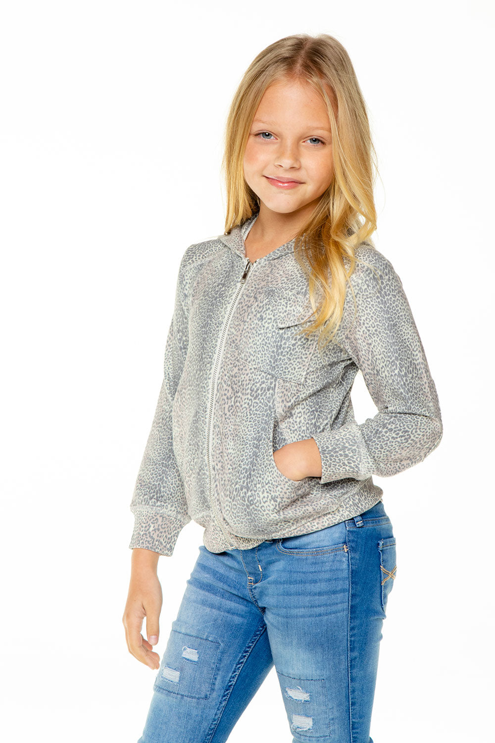 Girls Love Knit Long Sleeve Zip Up Hoodie with Rib GIRLS chaserbrand4.myshopify.com