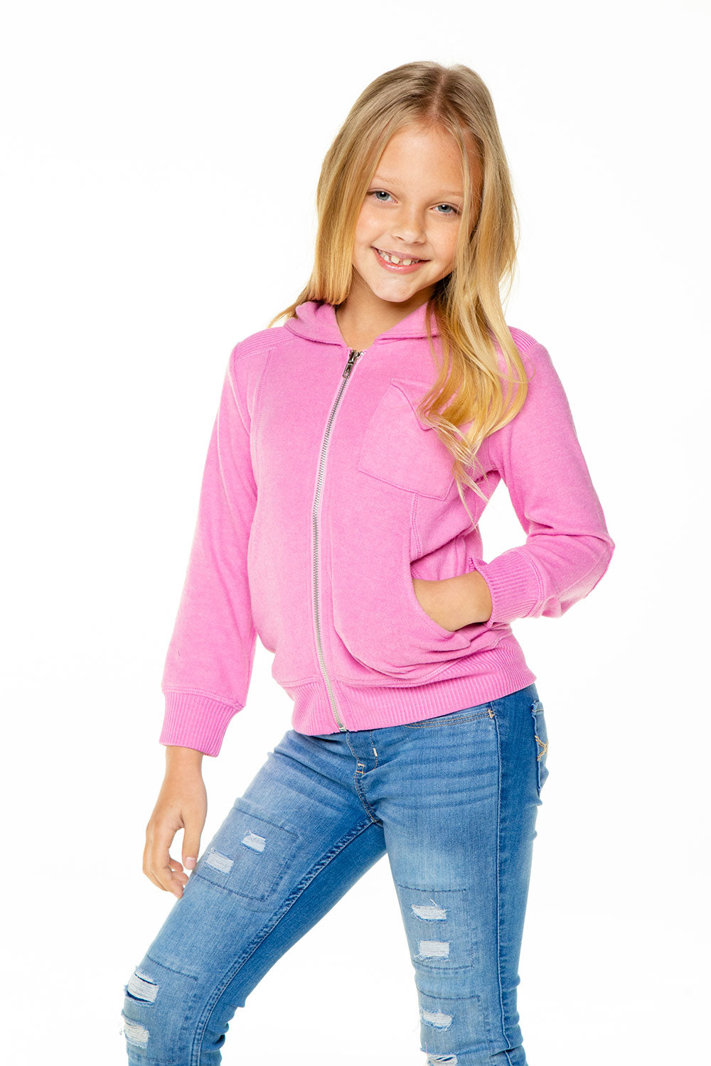Girls Love Knit Long Sleeve Zip Up Hoodie with Rib BCA chaserbrand4.myshopify.com