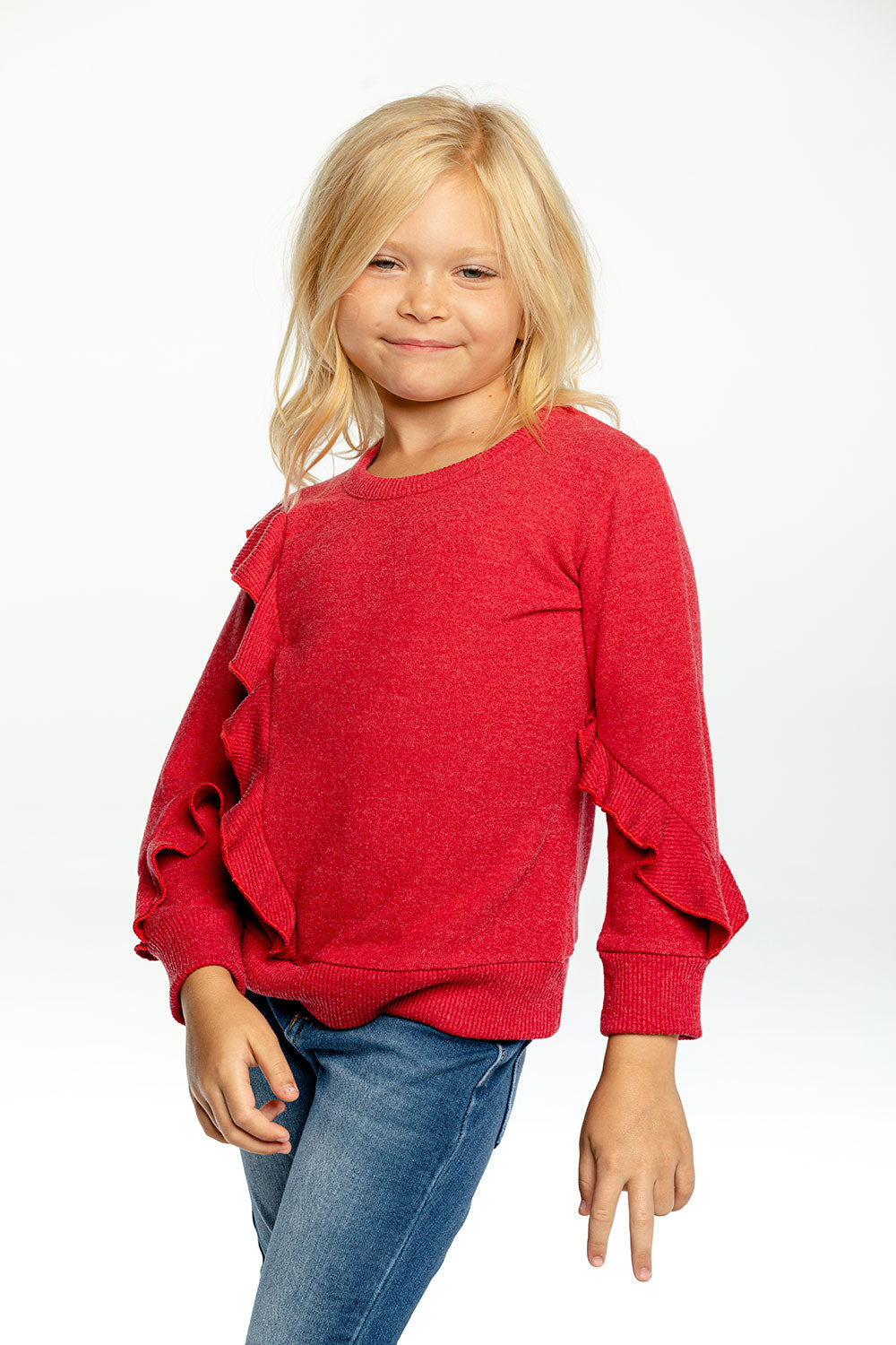 Girls Bliss Knit Long Sleeve Asymmetrical Ruffle Pullover GIRLS chaserbrand4.myshopify.com