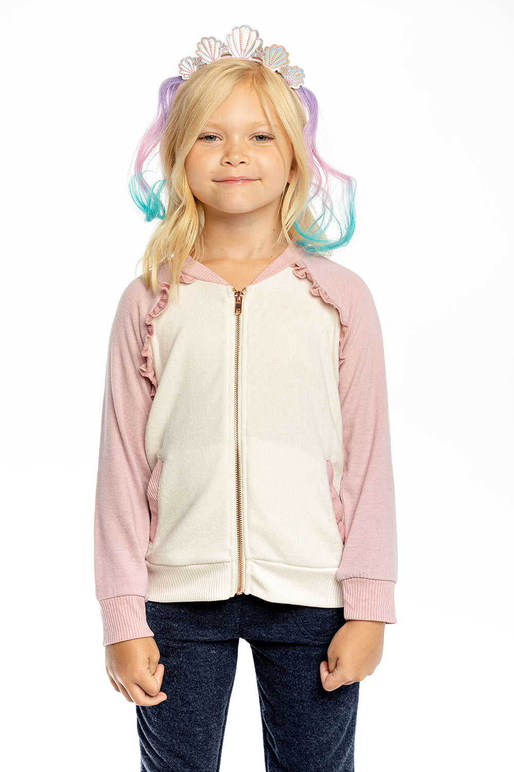 Girls Bliss Knit Color Blocked Ruffle Raglan Track Jacket GIRLS chaserbrand4.myshopify.com