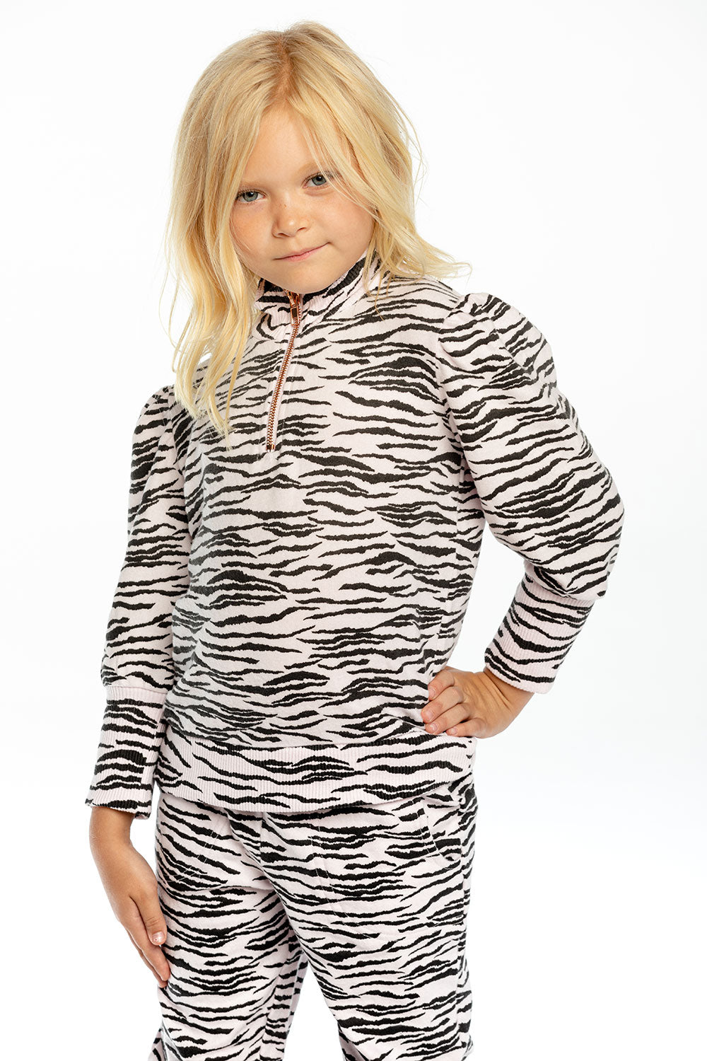 Girls Bliss Knit Puff Sleeve Mock Neck Half Zip Pullover GIRLS chaserbrand4.myshopify.com