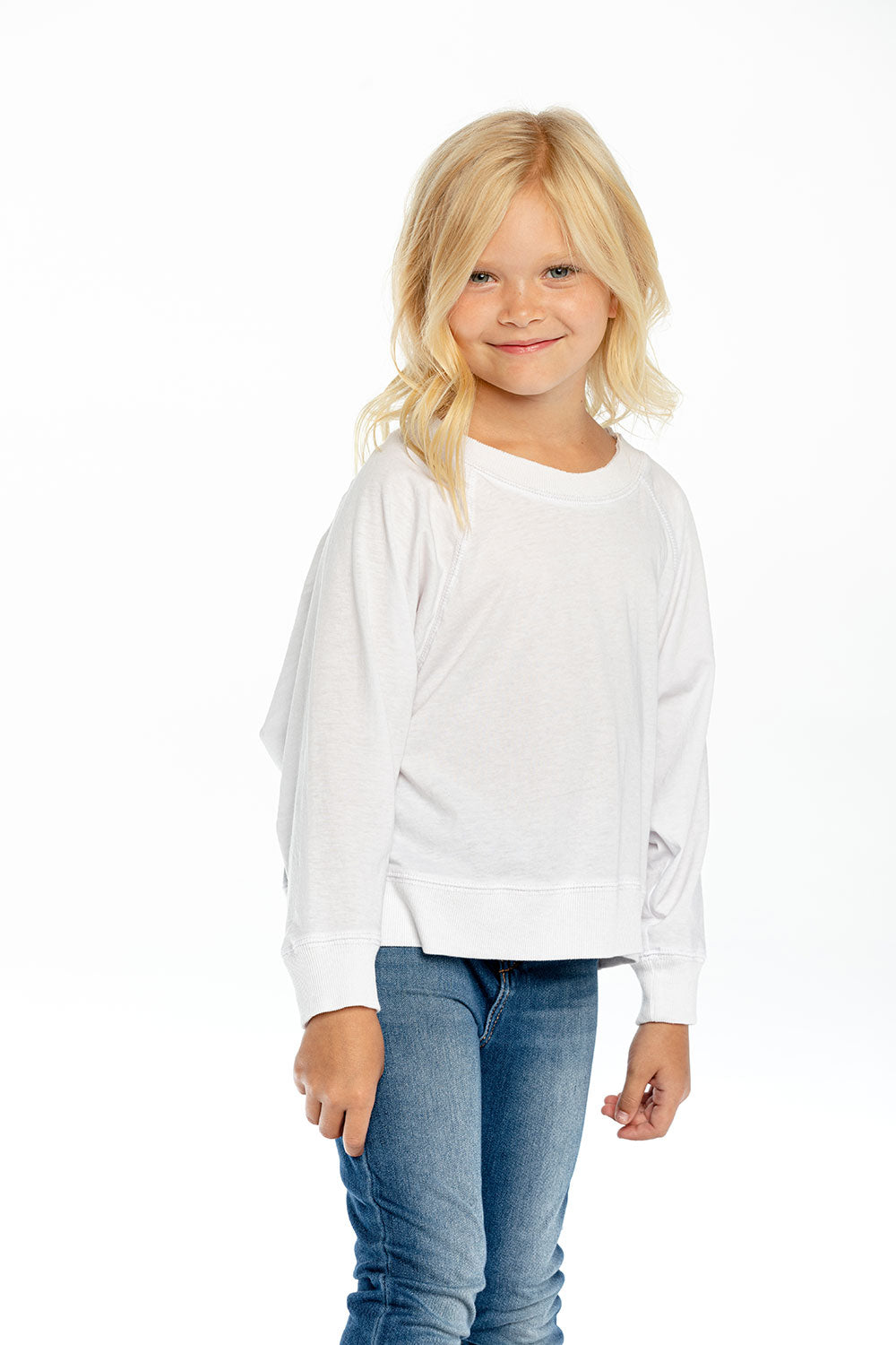 Girls Recycled Vintage Jersey Batwing Cropped Raglan Recycled - chaserbrand