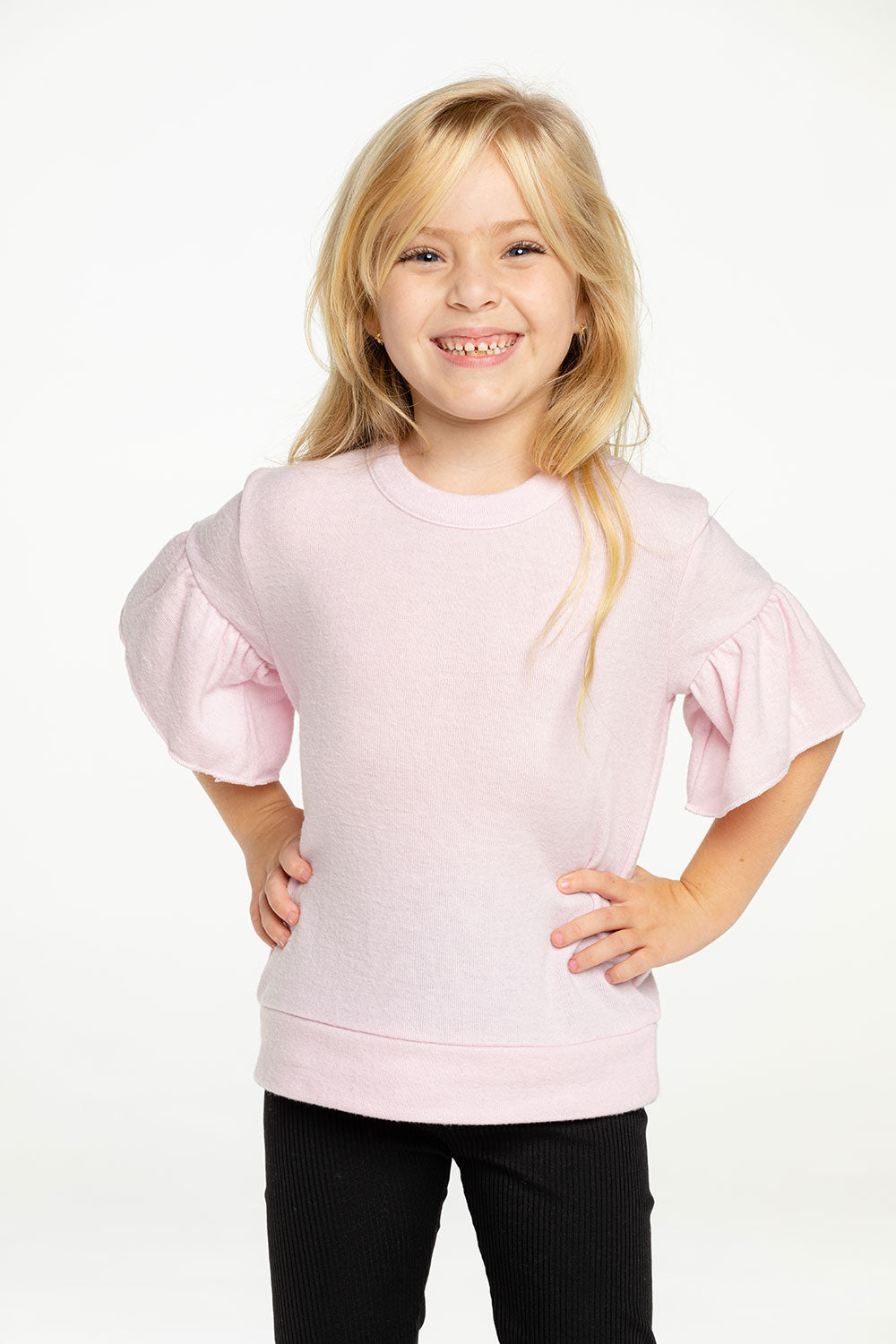Girls RPET Bliss Knit Peplum Sleeve Pullover GIRLS - chaserbrand