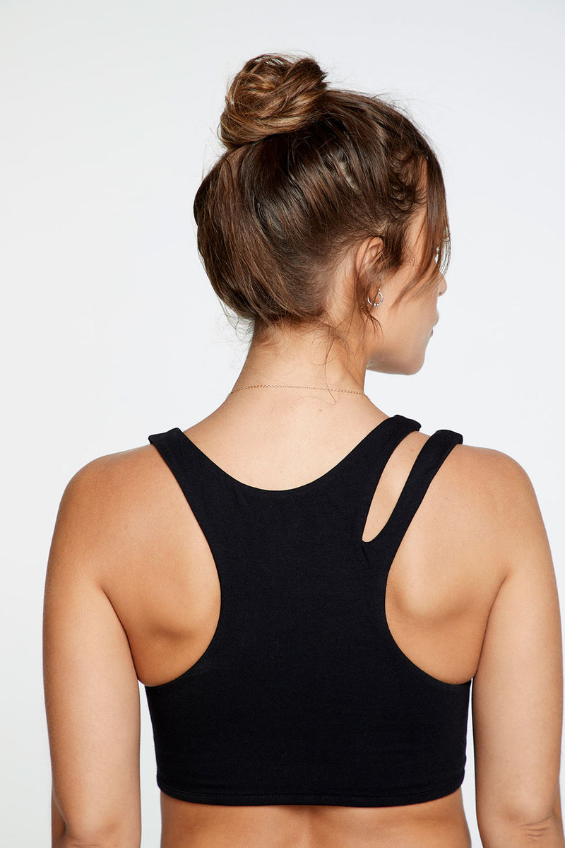 Quadrablend Vented Racerback Bralette in True Black WOMENS chaserbrand4.myshopify.com
