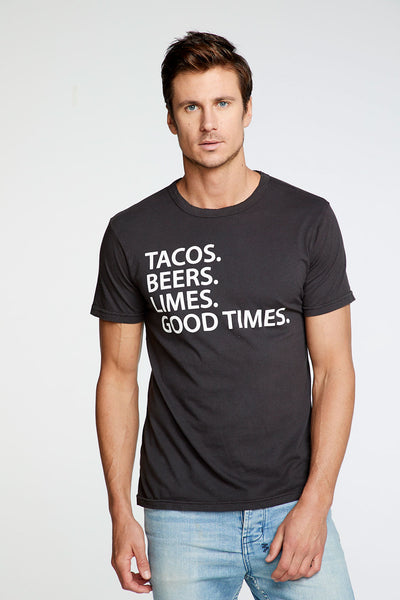 Tacos Beer Limes Good Times Crew Neck Tee MENS chaserbrand4.myshopify.com