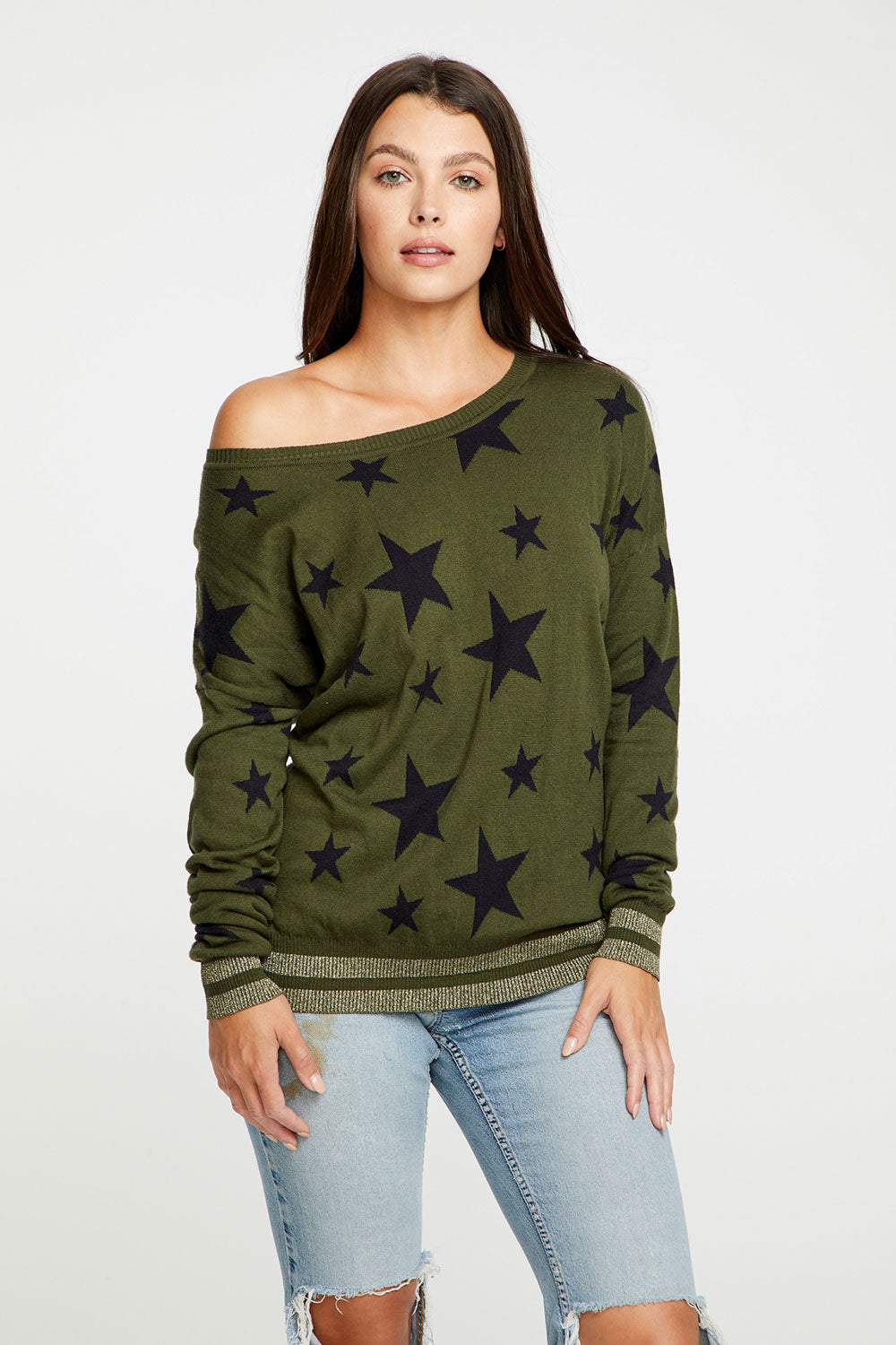 Black Star Cotton Cashmere Wide Neck Dolman Pullover WOMENS chaserbrand4.myshopify.com